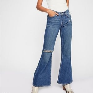 Free people high rise relaxed flare jeans